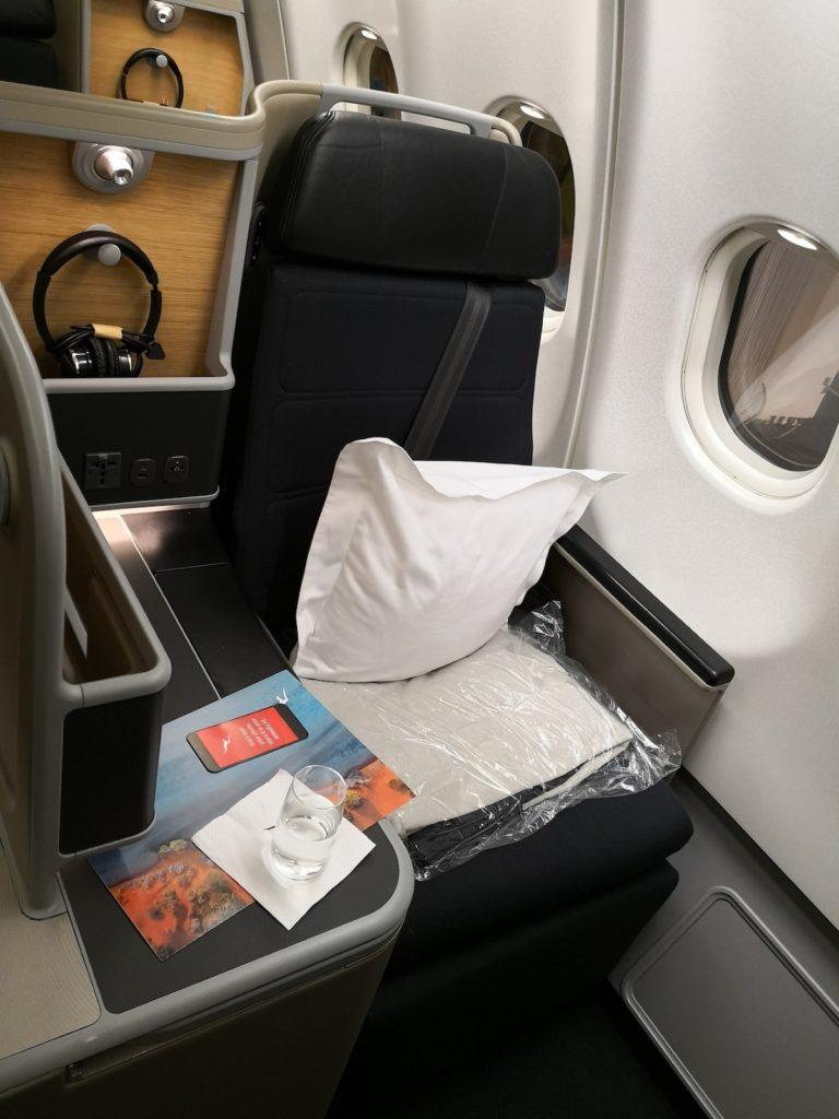 カンタス航空ビジネスクラスの窓側の座席