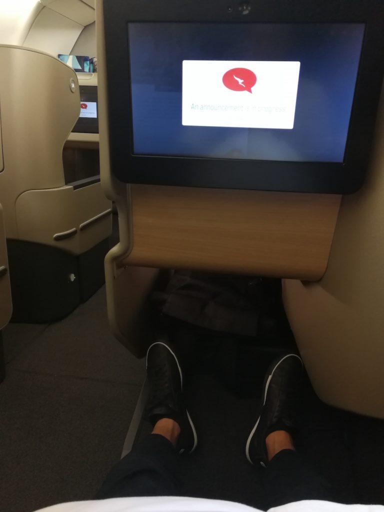 カンタス航空ビジネスクラスのレッグルーム
