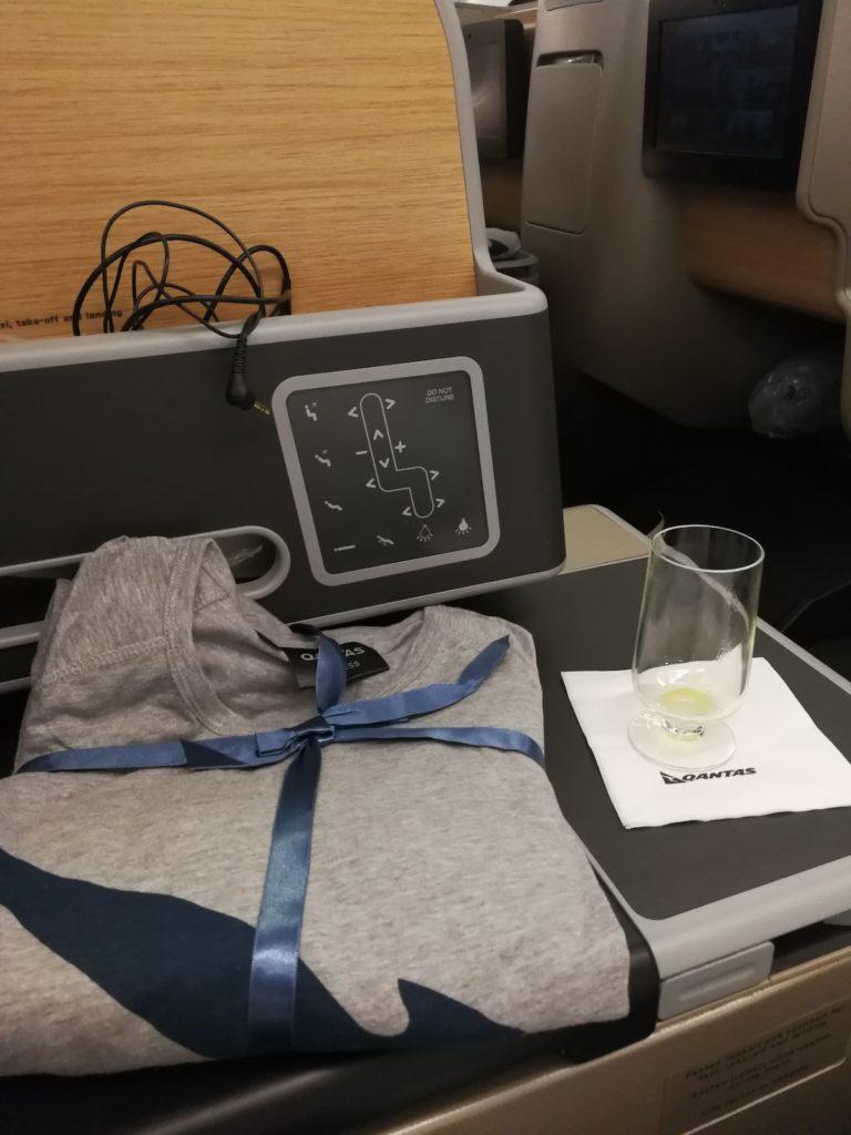 カンタス航空ビジネスクラスの機内パジャマ