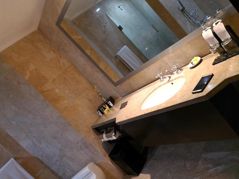 ザロイヤルビーチスミニャックホテルのバスルームの様子1