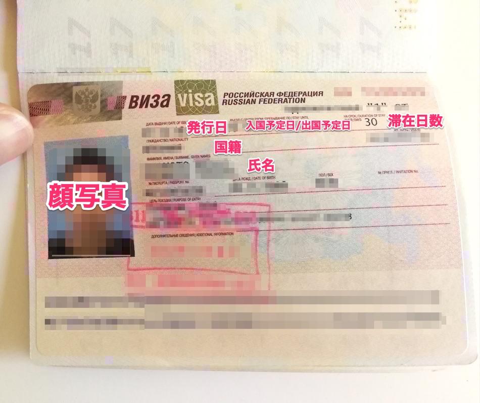 パスポートに貼られたロシアの観光ビザ